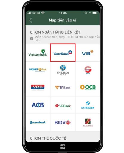 chọn liên kết ngân hàng Vietinbank
