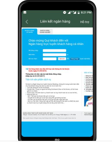 Đăng nhập vào tài khoản internet banking