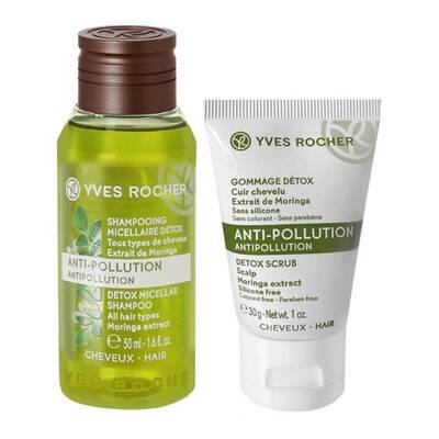Bộ tẩy tế bào chết da đầu và dầu gội Yves Rocher Anti-Pollution Antipollution
