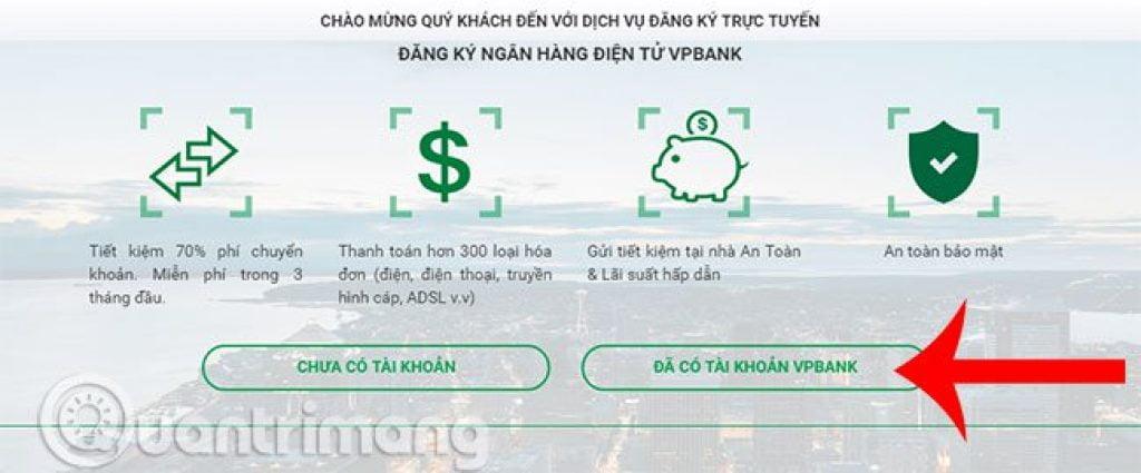 đăng ký dịch vụ internet banking