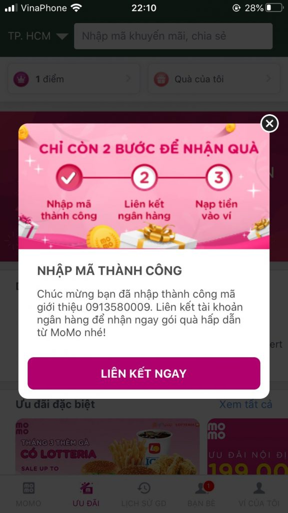 Thông báo liên kết mã giới thiệu MoMo thành công